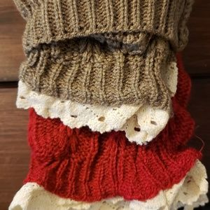 Hand knitted (NEW) boot cuff socks with lace trim